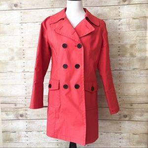 Anne Taylor LOFT Red Trench Coat Jacket sz M